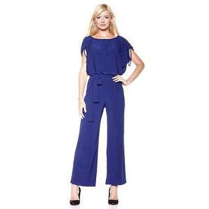 Blue Gathered Shoulder Short Sleeve Jumpsuit